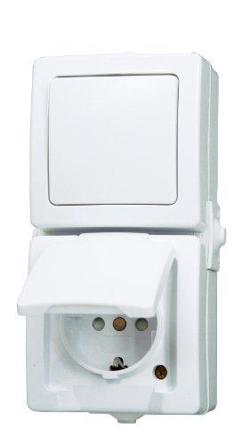 Kopp 138502009 Aus- / Wechselschalter-Steckdosenkombination Aufputz Feuchtraum Nautic