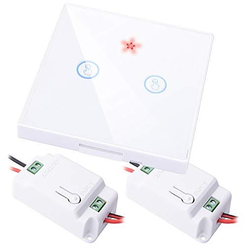 Xyhcs Casa Inteligente Interruptor táctil RF inalámbrico Remoto Luz Cristal de la Pantalla de Control 1 2 3 Banda botón del Panel de Pared Receptor llevó la lámpara (Color : 2 Gang 2 Receiver W)