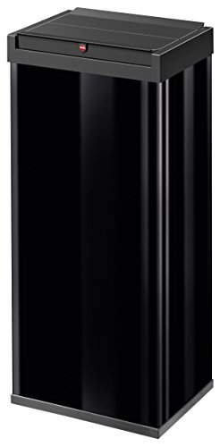Hailo Big-Box Swing XL Mülleimer | 1 x 52 Liter | selbstschließender Schwingdeckel | Stahlblech | Müllbeutel-Klemmrahmen | Mülleimer Küche rechteckig | Abfalleimer made in Germany | schwarz