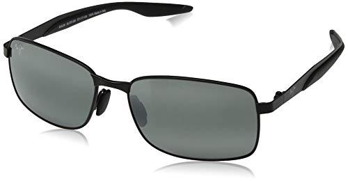 Maui Jim Men's's Shoal w/ Patented PolarizedPlus2 Lenses Polarized Rectangular Sunglasses, Gunmetal Black/Neutral Grey Polarized, Medium