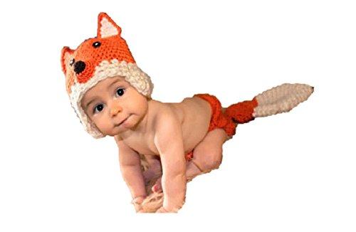 Fox, Newborn Baby Girl Boy Crochet Knit Costume Photo Photography Prop Hats Outfits (Fox)