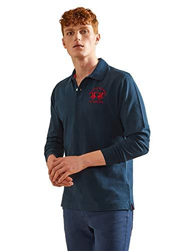 La Martina Herren Man Polo L/s Piquet Stretch Poloshirt, Blau (Navy 07017), X-Large
