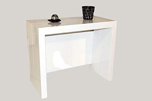Table Console Extensible à 3 allonges intégrées Milano - Laqué Blanc Brillant 10 Couverts