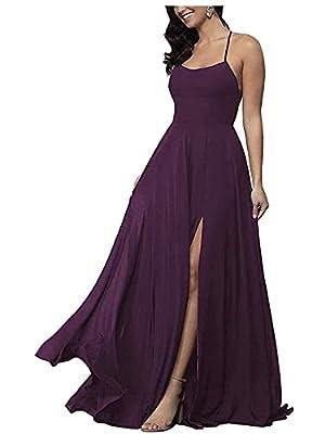 Fashionbride Women's Long Bridesmaid Dresses with Pockets Backless Spaghetti Strap Chiffon Slit Evening Prom Formal Dress A09 Plum-US8