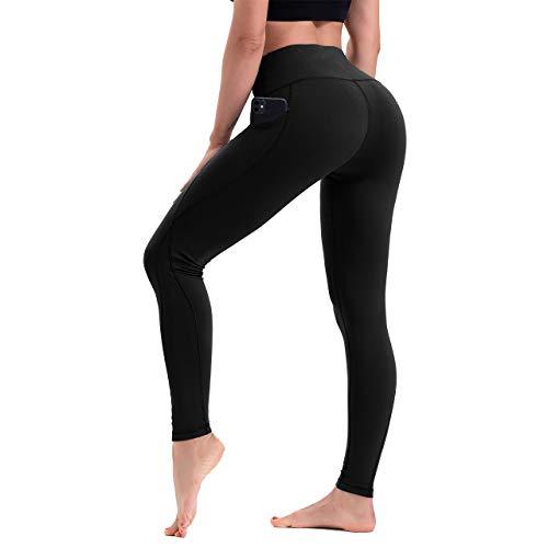 HLTPRO Leggings Damen Sport mit Tasche - Hohe Taille Blickdicht Lange Yogahose für Fitness Workout Gym, Schwarz, L