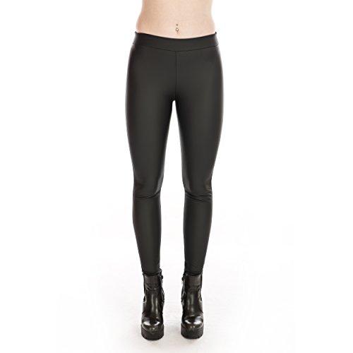 Rubberfashion Kunstleder Legging - matt glänzende Lederoptik Leggings - Low Waist Leder Optik Hose für Damen, Frauen und Mädchen Damen Leggins Leggings Damen Leggins Damen schwarz S