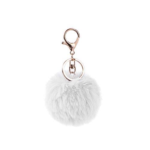 Toyvian Portachiavi Pom Pom Pendente Pompon Ciondolo Palla Pelo di Pelliccia Coniglio per Donna