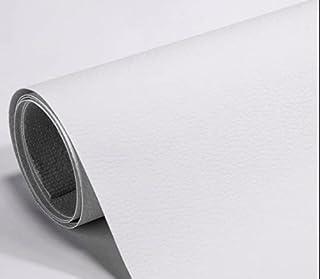 Autocollant en cuir artificiel PU, papier mural adhésif imperméable, cuir adhésif pour tapisserie (Blanc)