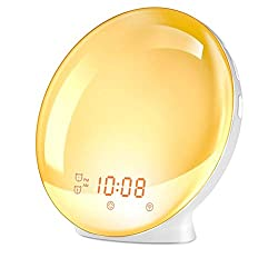 WiFi Sunrise Digital Alarm Clock, Smart Wake-up Light 7 Colored Changed Sunrise Simulation, 7 Nature Sounds Sleep Aid, FM Radio, 4 Alarms Snooze Dimmer, USB Charge Port, Creative Gift for Kids Adults