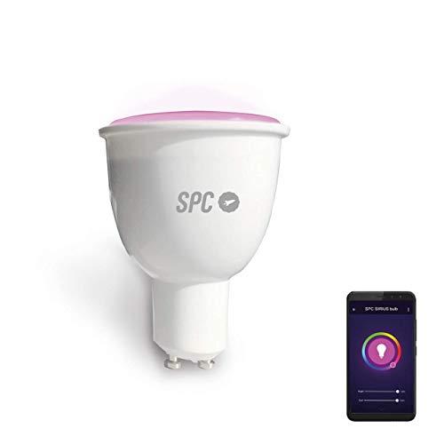 SPC Sirius 380 - Bombilla Led Wi-Fi Gu10, 4.5 W, 380 Lm, Iluminación Inteligente, Luz Blanca Cálida y de Color RGBW, Compatible con Alexa, Google Home, Ifttt, A+, Blanco