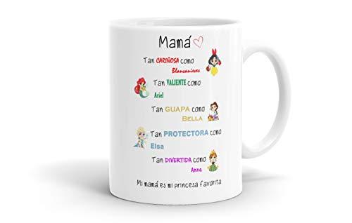 REGALOS ESTRELLA AZUL Tazas Desayuno Originales. Mi mamá es mi Princesa Favorita, Taza Madre, Taza Mama, Regalos Madre, Regalos para Mama, Tazas para el día de la Madre (Blanco)