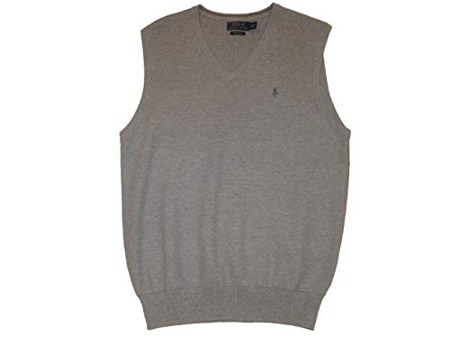 Ralph Lauren Polo Mens Pima Cotton V-Neck Sweater Vest (X-Large, Grey Heather)