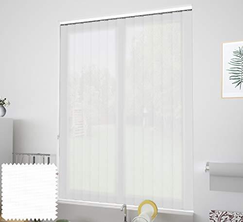 EB ESTORES BARATOS Cortina de Lamas Verticales Tecnoscreen/Bloqueo UV 70% con Transparencia. Lo ajustamos a su Medida Ancho x Alto. Color: Blanco. Medidas: 135cm x 200cm