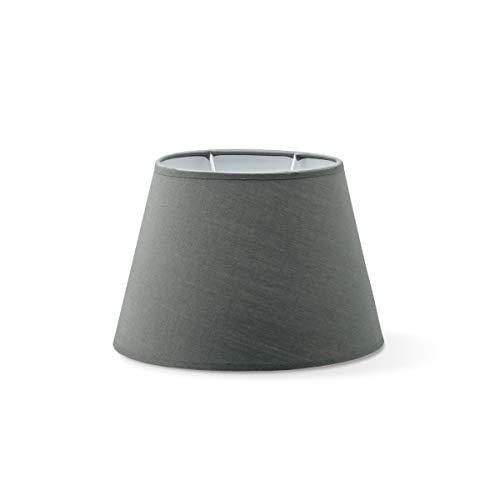 Lampenschirme oval | Largo | Textil Lampenschirme | Lampenschirme konisch | E27 Fassung | Durchmesser 24cm Höhe 16cm | DunkelGrau | geeignet für alle Innenraumen IP20 | geeignet für LED Lampe