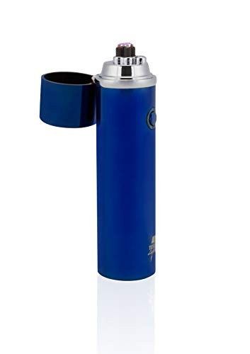 TESLA Lighter T02 Lichtbogen Feuerzeug, Plasma Double-Arc, elektronisch wiederaufladbar, aufladbar mit Strom per USB, ohne Gas und Benzin, mit Ladekabel, in edler Geschenkverpackung Blau