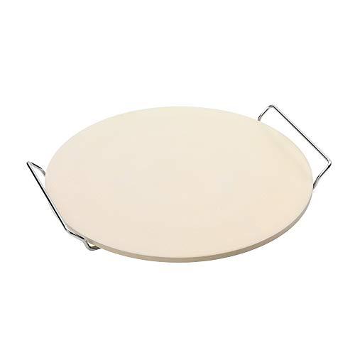 Point-Virgule Pizzastein für Backofen mit Metalhalter zum Servieren, Pizza Stone Grill Zubehör, rund 34 cm Durchmesser
