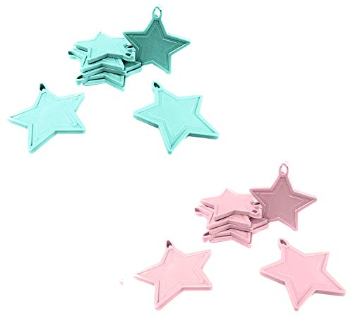 INERRA Estrella Globo Pesos para Globos de Helio - Paquete de 10 Mezclado (5 X Bebé Azul y 5 X Lila)