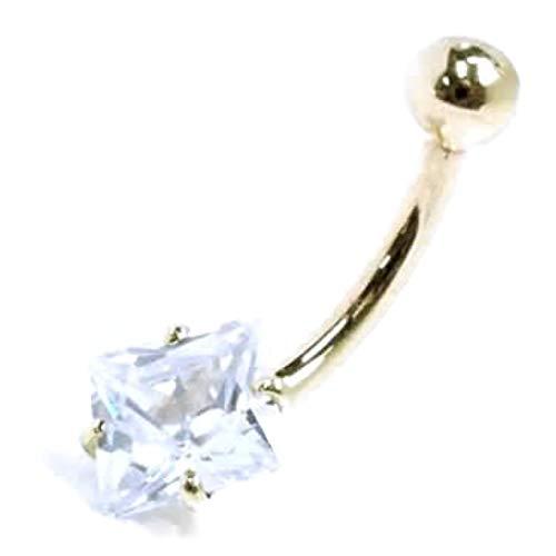 ボディピアス ボディーピアス 臍ピアス バナナバーベル ネジ 本物の金 K18 18金アイスブルーへそピアス 青 色 ゴールド 金 CZジルコニア 14G バラ売り アクセサリー