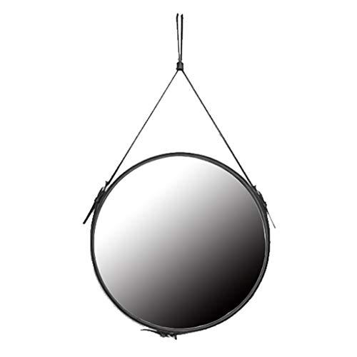 Badkamer Ronde Muur gemonteerde Spiegel Home Decoratie Eenvoudig Modern met Leer Hangende Band High Definition Scheerspiegel voor Appartement Slaapkamer Slaapkamer Entryways