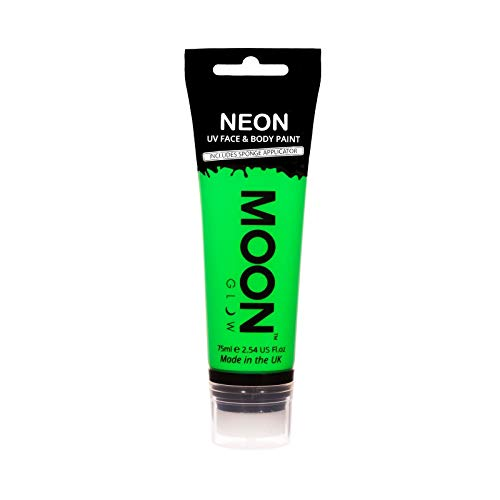Moon Glow Große 75ml Intensiv Grün UV-Bodypaint Körpermalfarben Schwarzlicht fluoreszierende Schminke Bodypainting Neon Farben Leuchtfarbenmit Schwammapplikator