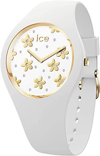ICE-WATCH ICE Flower Precious White - Reloj Blanco para Mujer con Correa de Silicona, 016658 (Small)