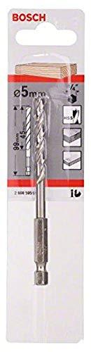 Bosch 2608595521 Hex Shank Wood Drill Bit, 5mm x 52mm x 99mm, Silver