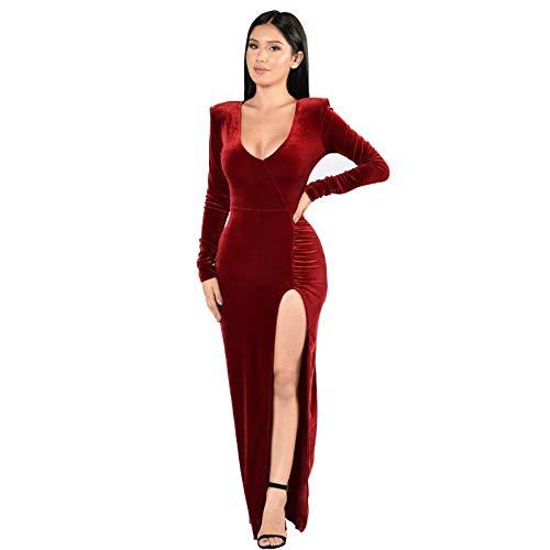 Creator2018 Damen Langarm Abendkleid Samt Maxikleid Tief V-Ausschnitt Gespaltene Abendkleider Elegant Cocktailkleid Partykleid, Rot S