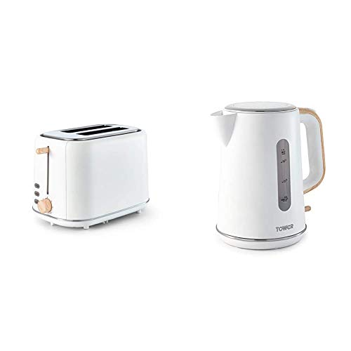 Tower Scandi T20027 2-Slice Toaster, 7 Toasting Functions, 800 W, White with Wood Accents & Scandi T10037 Kettle with Rapid Boil and Boil Dry Protection, 1.7 Litre, 3 kW, White