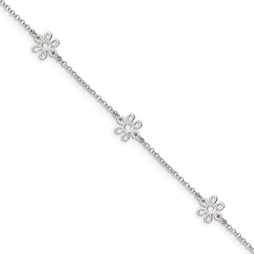 925 Sterling Silver Flower 9 Inch Plus 1 Adjustable Chain Size Extender Anklet Ankle Beach Bracelet Floral/leaf Fine Jewelry For Women Gifts For Her