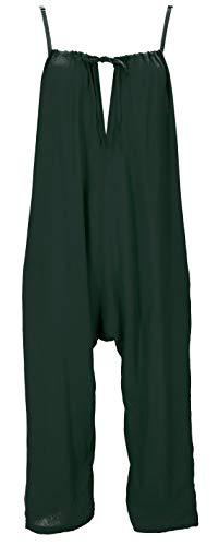 Guru-Shop Sommerliche Latzhose, Ethno Style Boho Einteiler, Overall, Damen, Olivgrün, Synthetisch, Size:M (38), Lange Hosen Alternative Bekleidung