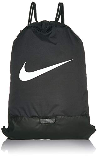 Nike Brasilia Training Gymsack, Drawstring Backpack with Zipper Pocket and Reinforced Bottom, Black/Black/White