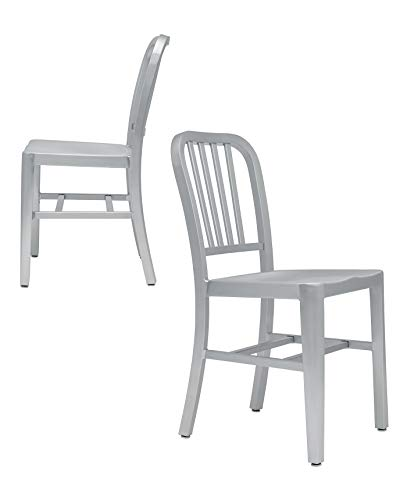 Set of 2 - Bryant Aluminum Side Chairs - Commercial Grade and Lightweight - Dining, Office, Kitchen, Living Room (Aluminum)