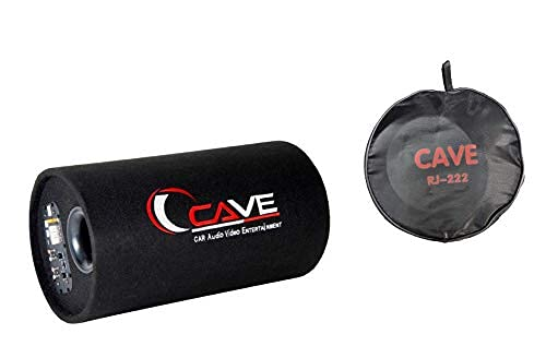 Cave Bass Tube with Amplifier (Black, 8 inch) with 4 Gauge Amplifier Wirring Kit