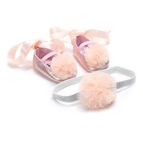 MäDchen Sommer Sandale Mit Weichen Sohlen Baby GläNzend Lauflernschuhe + Stirnband (0-6 Monate, Rosa)