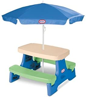 Savings Supreme Kids Play Table with Umbrella Children Outdoor Junior Picnic Tables Child Blue Green Toddler Play Fun Playset New
