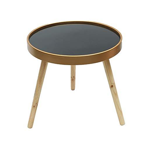 LiRuiPengBJ Beistelltisch Moderner Runder Couchtisch, Seitenleuchte Beistelltisch, mit Acryl Plexiglas Tischplatte und Holzbeinen, für Wohnzimmer Büro Ecktisch