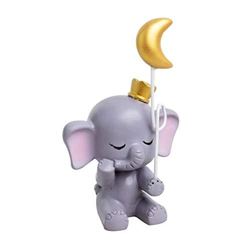 Healifty Harz Kuchen Figur niedlichen Elefanten mond Statue Ornament Kuchen Dekoration Ornament