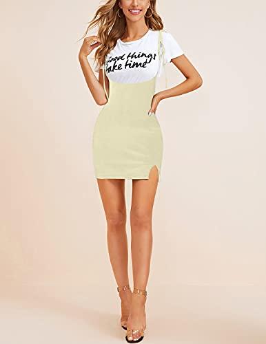 BUOYDM Falda Mujer Falda Lápiz Cintura Alta Vestido de Faldas de Tirantes Casuales de Moda Elástica Beige L