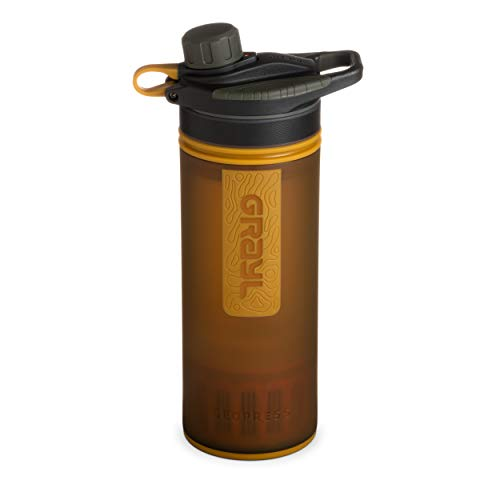 GRAYL Geopress 24 oz Water Purifier for Global Travel, Backpacking, Hiking, and Survival (Coyote Amber)