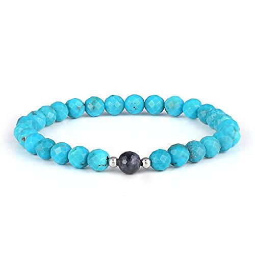 Pulsera elástica apilable de piedras preciosas semipreciosas naturales de zafiro azul y turquesa semipreciosa de 6 mm para mujeres, hombres, adolescentes, unisex