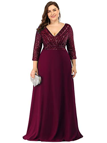 Ever-Pretty Women's Plus Size Deep V-Neck Long Formal Occasion Dress for Weddings Burgundy US22