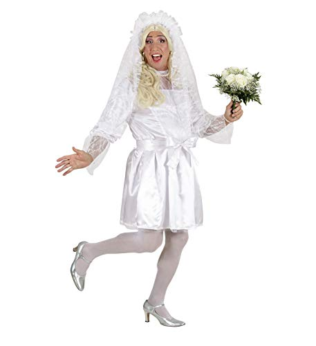 Party-Teufel® Komplett Kostüm Männer Brautkostüm mit Kleid Petticoat Gürtel Brautschleier Haarschmuck weißer Strumpfhose Einheitsgröße Junggesellenabschied