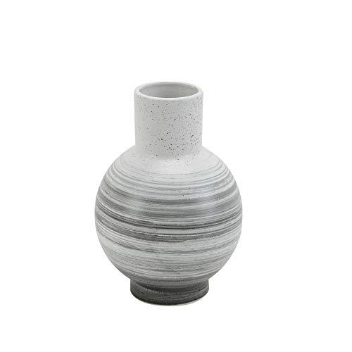Keramikvase, 30,5 cm, Weiß/Grau