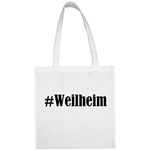 Tasche #Weilheim Größe 38x42 Farbe Weiss Druck Schwarz