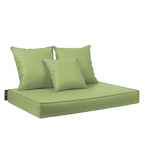 Bavaro Coussins pour palettes en bois, tissu simili-cuir hydrofuge, déhoussables, disponibles en 10 couleurs citron vert