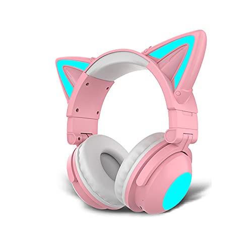 Rosa Gato Oreja Wireless Juegos Auriculares, Mujer Bluetooth 5.0 sobre-Oreja Cascos Hi-Fi Estéreo Doble Eje Plegable Llamadas Manos Libres Cancelación de Ruido Mic, para PC/Teléfono/TV (Color:Rosado)