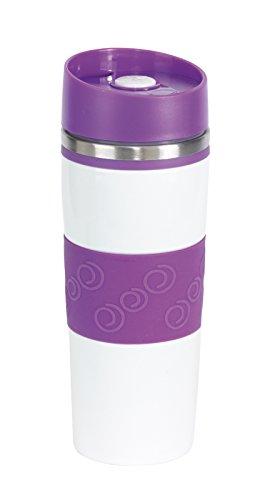 Unbekannt Thermobecher Push Button Becher 400ml Coffee to go Becher Farbwahl Kaffeebecher Push Butten Isolierbecher (lila)