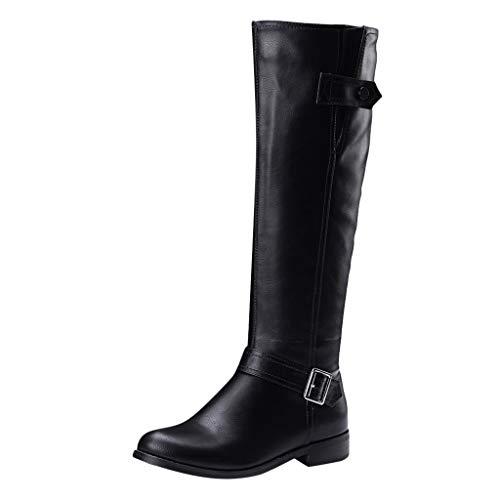 Fantastic Deal! Dainzuy Women's Calf Boots Knee High Riding Boots Belt Buckle Low Heel Motorcycle Bo...