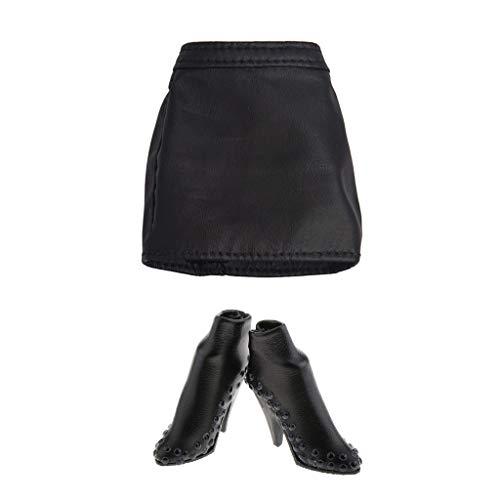 Sharplace 1/6 PU-Leder Hot Rock Minirock High Heels Bekleidung für 12 Zoll Weibliche Action Figur