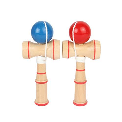 YeahiBaby 2pcs juguete de madera creativo kendama taza y bola juguetes captura habilidad juego regalos hechos a mano para niños (rojo+azul)